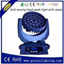 free shipping 36pcs 10W RGBW 4 in 1 wash moving head led light/ 6 in1 moving head light 18w rgbwa uv