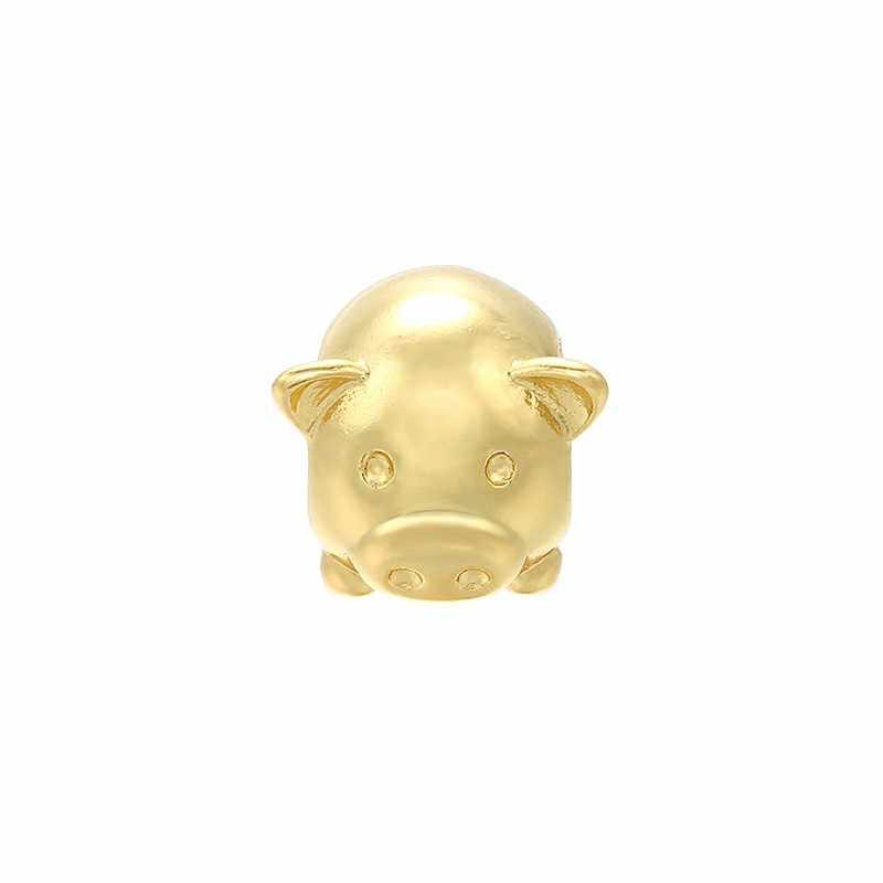 ZHUKOU 9x10mm latón cúbico circonio cuentas bendito cerdo de oro pulsera collar de cuentas de Metal para hacer joyería accesorios PZ13