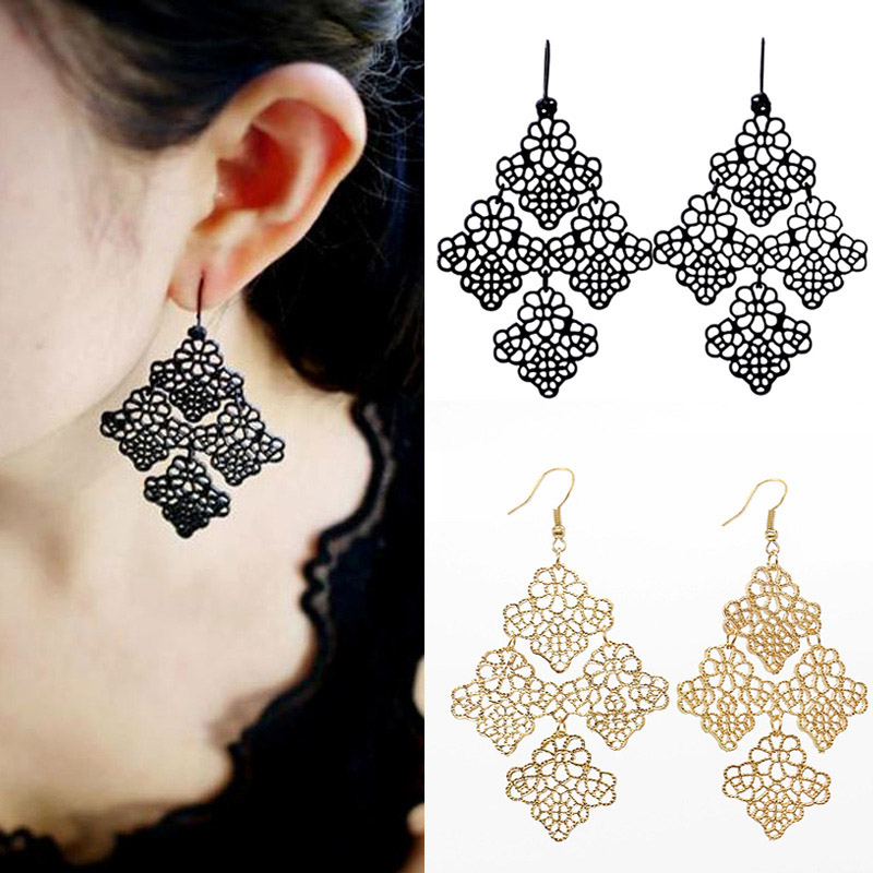 Women Earrings Boho Gold Black Alloy Metal Cutout Chantilly Lace ...