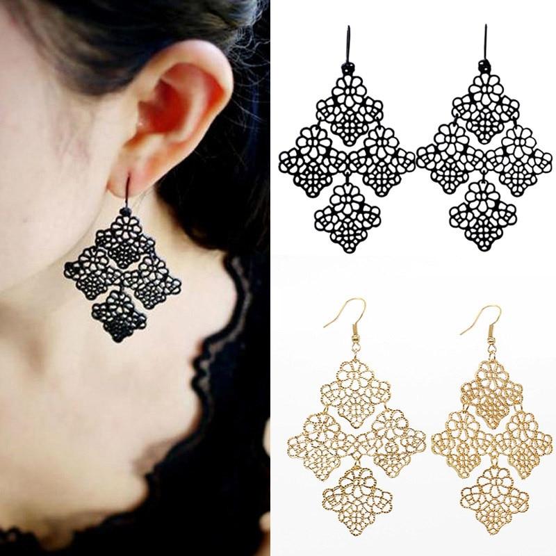 Women Earrings Boho Gold Black Alloy Metal Cutout Chantilly Lace Link Flower Filigree Drop Chandelier Hook Dangle Lady Earring