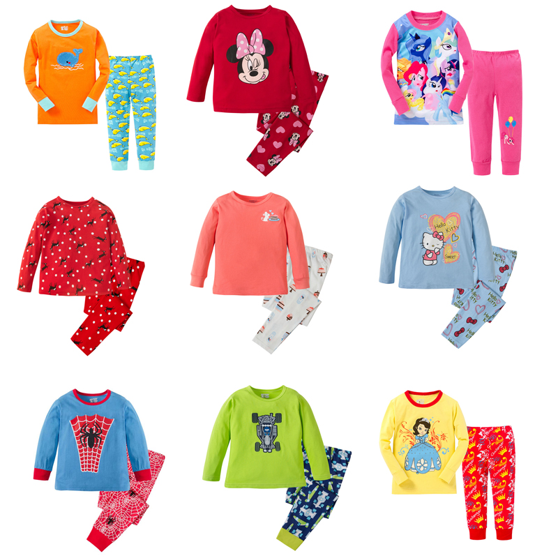 100 Cotton Boys And Girls Pajamas Sets Kids Pijamas Infantil Baby Sleepwear Princess Girls Pajamas Children Nightwear