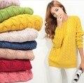 2014 corrieron la rebeca abrigo de otoño nueva vendimia de la llegada delgado medio largo de manga larga de punto trenzado básica camisa para mujer