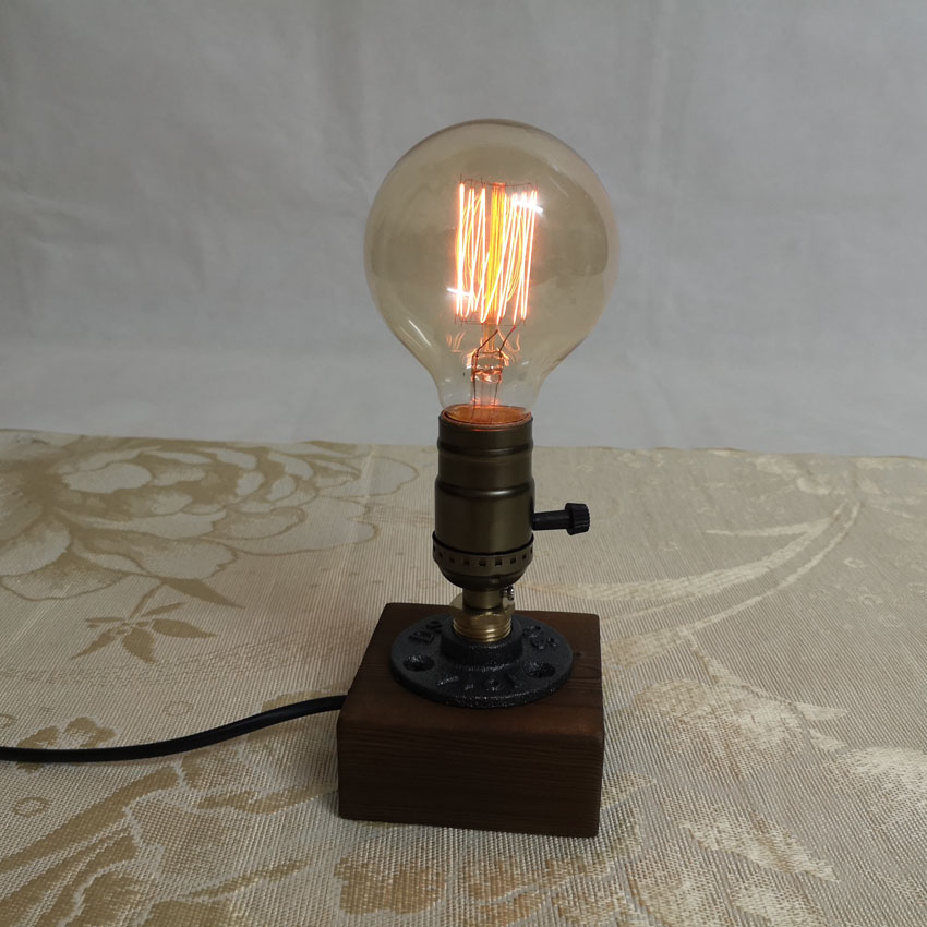 Vintage Edison Wood table lamps wooden Base Socket E27 Industrial Home Desk Light for bedroom bedside study room deco lighting