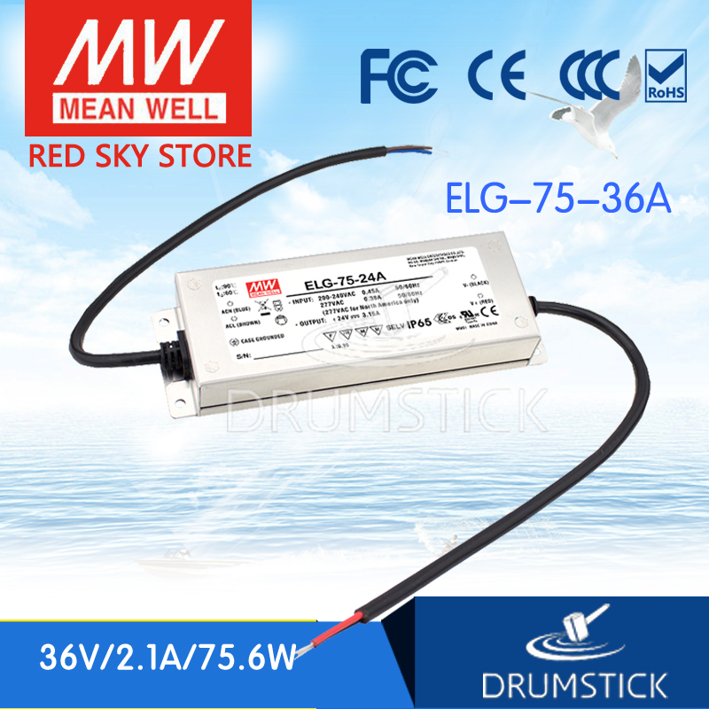 Selling Hot MEAN WELL ELG-75-36A 36V 2.1A meanwell ELG-75 75.6W Single Output LED Driver Power Supply A type advantages mean well elg 100 42a 42v 2 28a meanwell elg 100 42v 95 76w single output led driver power supply a type [real6]