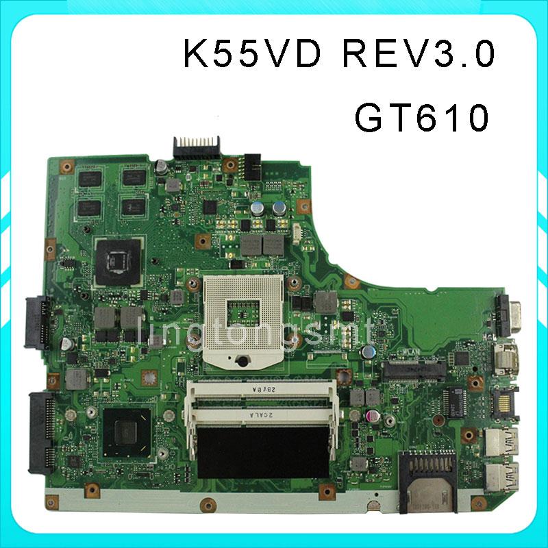 K55VD for ASUS laptop motherboard 8pcs video card HD4000 GeForce GT610M REV3.0 K55vd mainboard full tested 0mwxpk laptop motherboard for dell inspiron n5110 ddr3 with nvdia video card mainboard full tested
