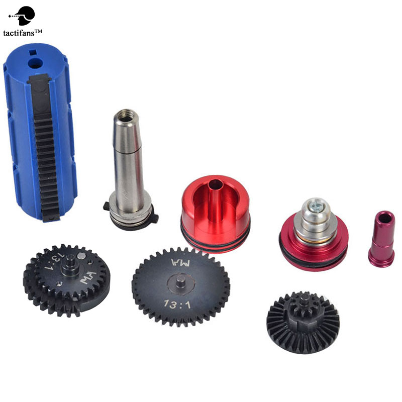 TACTIFANS 13:1 Super High Speed Gear 15 Teeth Piston Cylinder Piston Head Spring Guide Nozzle Tune-Up Set for M-4 Airsoft AEG top high speed full teeth piston