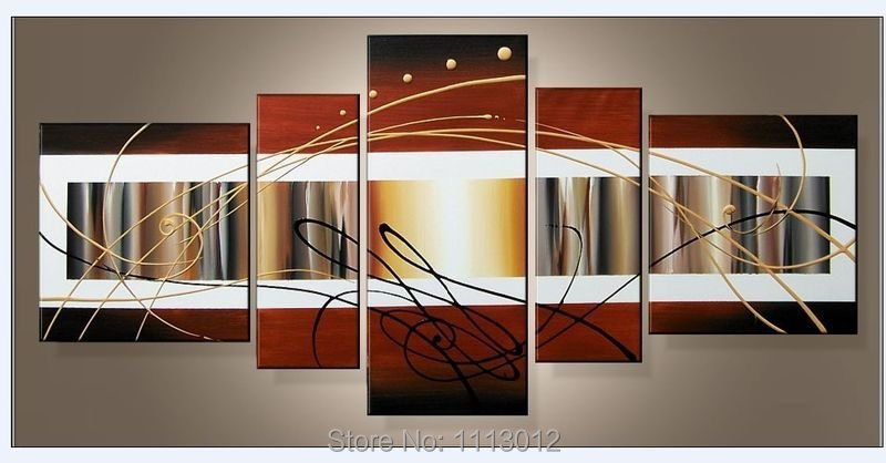 Abstract Flower Brown Line Oil Painting On Canvas High Quality 5 Pcs Sets Home Modern Wall Art Decoration For Living Room Sale