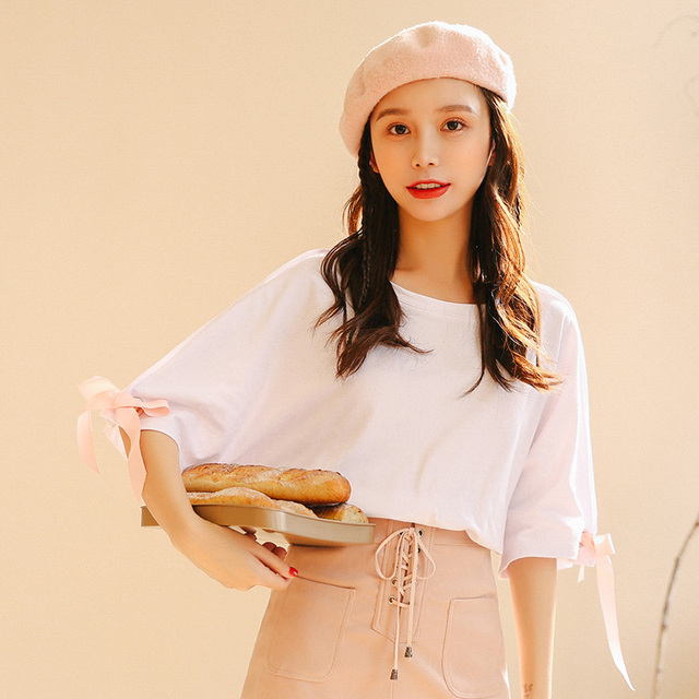 2018 Women's Summer Solid Color T-shirt Female Butterfly Cotton Loose Tee Ladies Clothes For Women Tshirt Tops Ulzzang Tunic