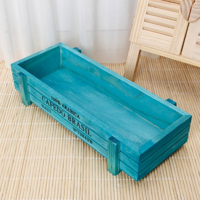 Vintage Wooden Boxes Crates Flower Pot Kitchen Trinket Desktop Storage Case Planter Garden Flower Planter Succulent Pot
