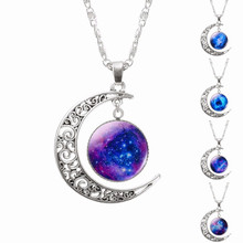 Galaxy Planet Star Glass Cabochon Pendant Necklace Crescent Moon Jewelry Silver Plated Chain Necklace Women Friend Best Gifts(China)