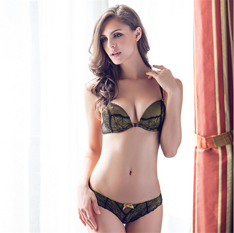 a1817e8062f Sexy High Quality Front Closure Push Up Bra And Brief Sets Lace Adjustable Matching  Underwear Wide Lacy Straps Sutia Renda Cueca