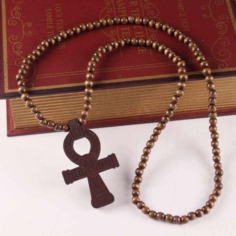 Clássico Contas de Madeira Hip Hop Colar de Pingente de Crucifixo De Madeira Ankh Egípcio Cruz Colares Para Homens Mulheres Unisex Do Vintage Jóias