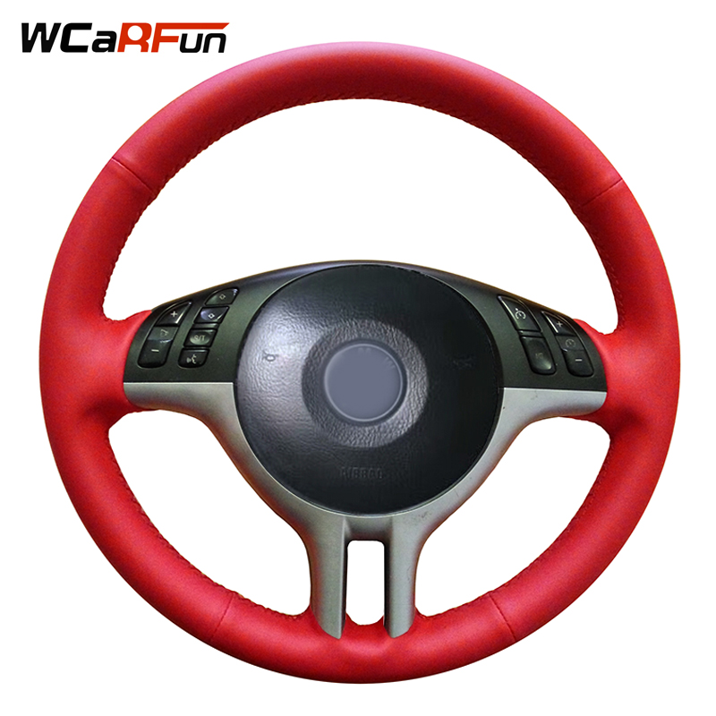 WCaRFun DIY Customized Name Hand-Stitched Red Artificial Leather Car Steering Wheel Cover For BMW E46 325i E39 E53 X5