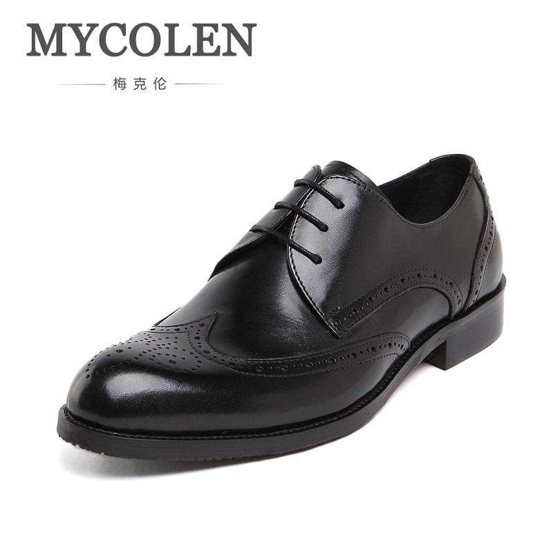 MYCOLEN Genuine Leather Bullock Men Flats Casual British Style Men Oxfords Fashion Dress Shoes Round Toe Men Wedding Shoes cbjsho british style brogue shoes men s lace up casual leather men dress shoes flat solid color fashion bullock shoes man