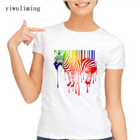 2017 Watercolor Rainbow Zebra Print T Shirt Women Lovely Style Hot Sale Horse Shirt Comfortable Soft
