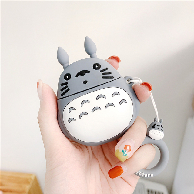 For AirPods 2 Case Cute Cartoon Totoro Earphone Cases For Apple Airpods 2 Cover Funda with Finger Ring Strap