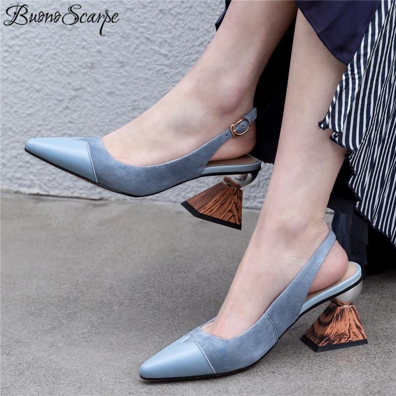 Buono Scarpe Women Strange High Heel Sandals Metal Buckle Shallow Office Lady Women Sandals Elegant Genuine