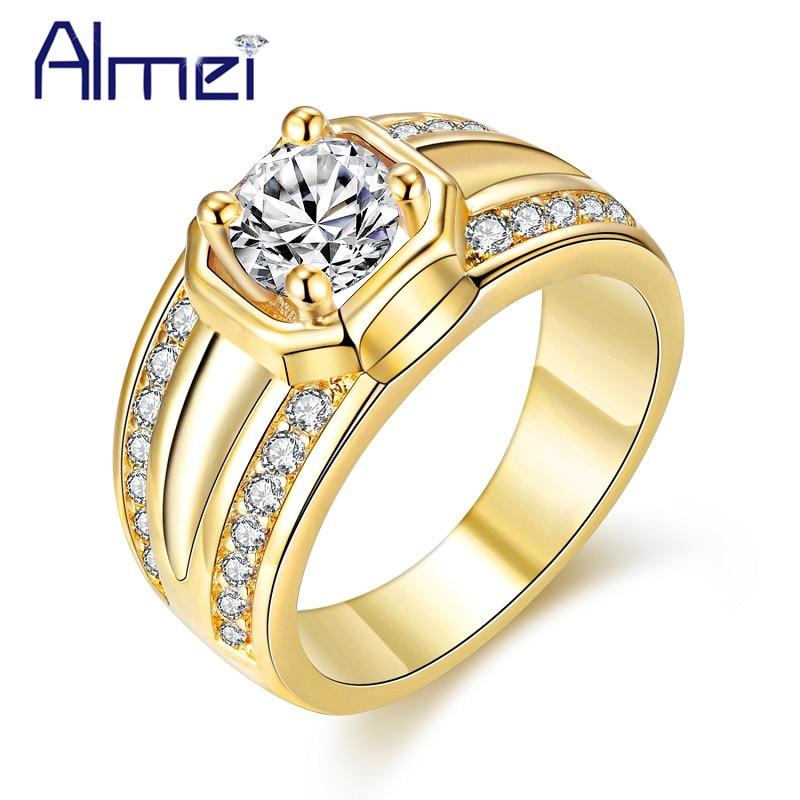 Almei 20%Off Unisex Rings For Women Silver Rose Gold Color Wide Men Ring Bague Rhinestone Zircon Stone Womens Jewelry CR128