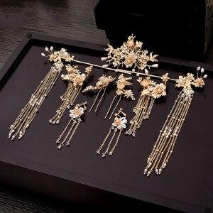 Image 5 - Geleneksel çin saç tokası altın saç Combs düğün saç aksesuarları kafa bandı sopa Headdress kafa takı gelin başlığı Pin