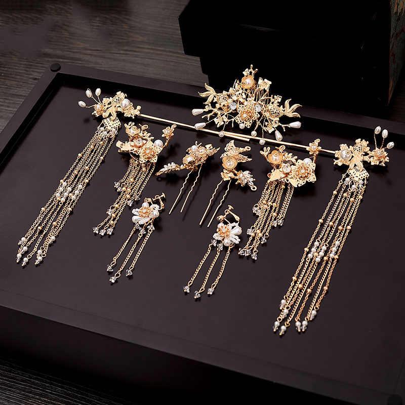 Traditionnel chinois épingle à cheveux or cheveux peignes mariage cheveux accessoires bandeau bâton coiffe tête bijoux mariée casque épingle