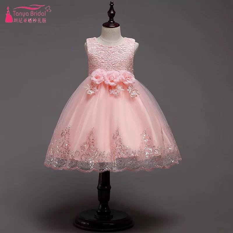 Lovely Flower Girl Dresses With Flowers Formal Kids Ball Gown For