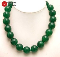 Qingmos Trendy Green Jades 17 Chokers Necklace for Women with 20mm Round Natural Genuine Green Jades Necklace Jewelry nec6279