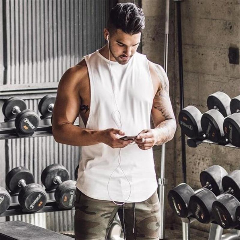ZOGAA New Plain Tank Top Men Bodybuilding Singlet Gyms Stringer Sleeveless Shirt Blank Fitness Clothing Sportwear Muscle Vest