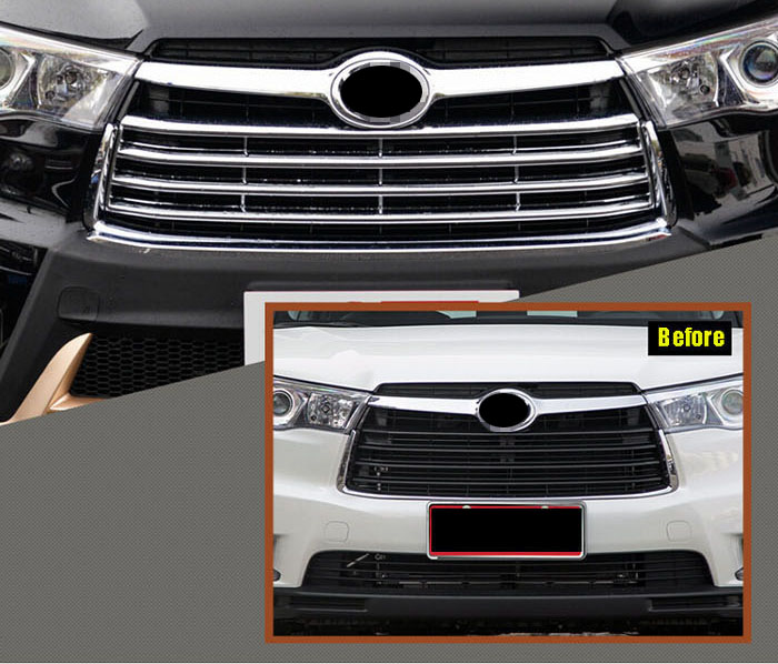 FOR toyota HIGHLANDER KLUGER 14-15 CHROME FRONT MESH GRILL GRILLE COVER TRIM INSERT RADIATOR BONNET GARNISH HOOD MOLDING silver front mesh grilles trim grill cover insert shell honeycomb fit for jeep patriot 11 2015