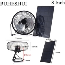 BUHESHUI 4″6″8 Inch Cooling Ventilation Fan USB 3W 3.5W 5.5W 6V Solar Powered Panel Iron Fan For Home Office Outdoor  Fishing