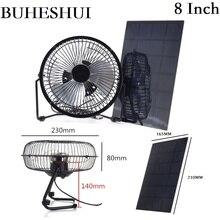 """BUHESHUI 4 """"6"""" 8 pouces ventilateur de Ventilation de refroidissement USB 3 W 3.5 W 5.5 W 6 V panneau solaire alimenté ventilateur de fer pour la pêche en plein air de bureau à domicile"""