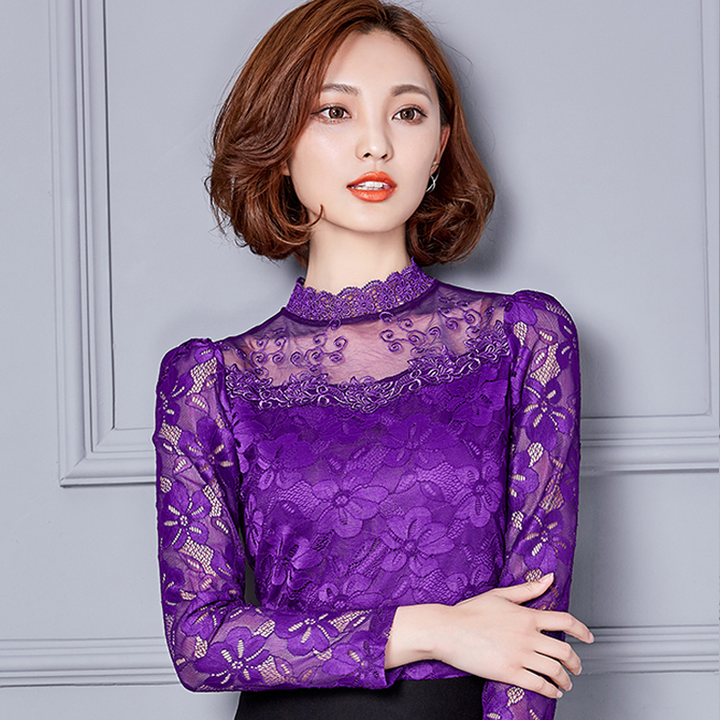 Women   Blouse     Shirts   New Sexy Fashion Women Lace Long Sleeve Turtleneck   Blouses   Female Spring Pullover Blusas Tops Plus size 5XL