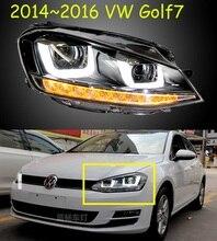 2 stücke Auto Styling Kopf Lampe fall für Golf 7 2014 Scheinwerfer Golf7 MK7 LED rücklicht Scheinwerfer DRL Objektiv Doppel strahl Bi Xenon HID