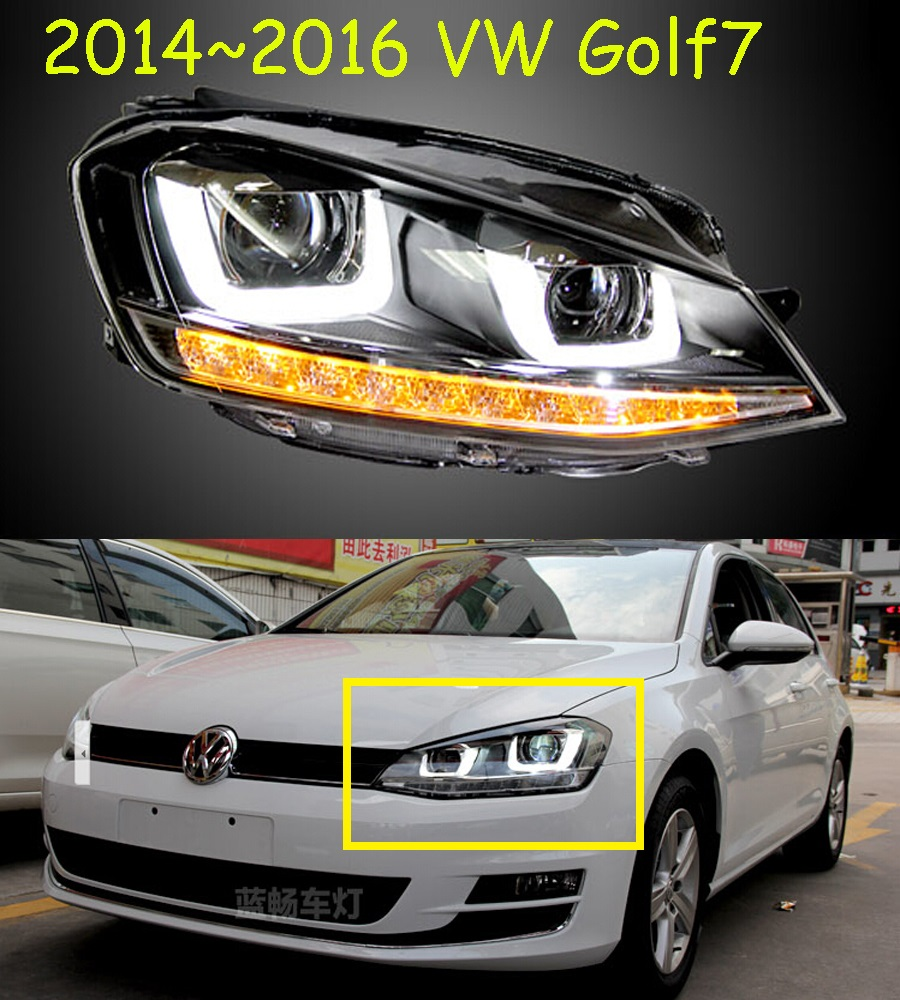 2pcs Car Styling Head Lamp Case For Golf 7 2014 Headlights Golf7 MK7 LED Taillight Headlight DRL Lens Double Beam Bi-Xenon HID