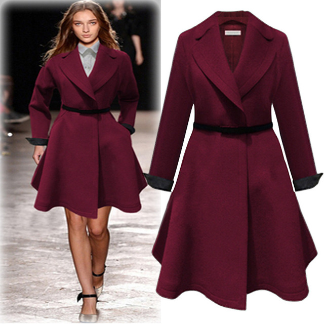 6125e5d3f2b New Autumn Winter Women Coats Plus Size Fashion Turn-Down Collar Solid Slim  Belt Woolen
