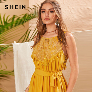 Image 3 - SHEIN vestido Midi Encaje Amarillo de verano, estilo bohemio, con dobladillo y volantes, sin mangas, cintura alta, corte flecos