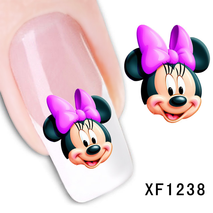 cute cartoon Mickey design Water Transfer Nails Art Sticker decals girl women manicure tools Nail Wraps Decals wholesale стоимость