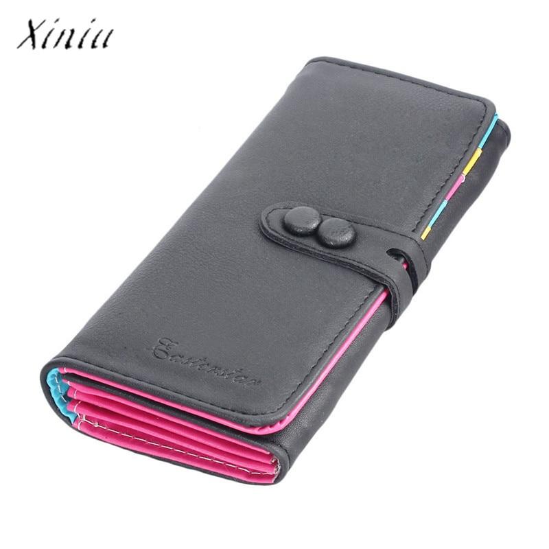 New Fashion Wallet Women Small Fresh Wallet Mobile Phone Bag Leather Hasp Long Design Purse Women's Wallets dames portemonnee 1