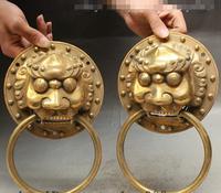 Chinois FengShui Laiton Foo Fu Dog Guardion Lion Tête Statue Heurtoir De Porte Paire