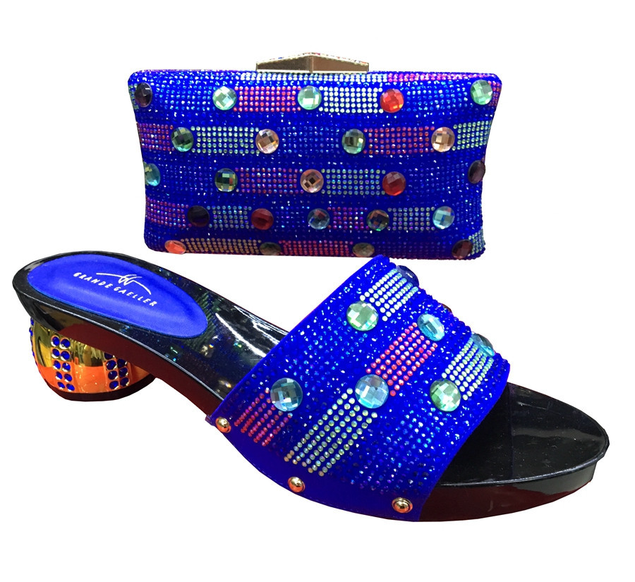 Italian Shoes With Matching Bags Rhinestones Blue High Quality African Shoes And Bags Set for Wedding