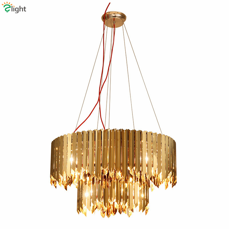Luxury Round Plate Metal Led Pendant Light Lustre Double Layers Stainless Steel E14 Pendant Lamp Luminaire Lampapras For Vila stylish bicycle lock and round pendant double sweater chains for women