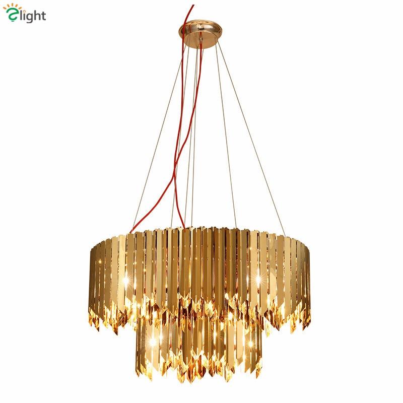 Villa Luxury D80cm Round Plate Led Pendant Light Lustre Double Layers Stainless Steel Pendant Lamp Luminaires Hanging Lamp