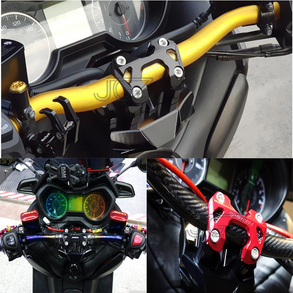 US $89 99 10% OFF|CNC Aluminum Motorcycle Handlebar Risers Handle Bar Clamp  Mount for Yamaha XMAX 250 300 2017 2018 Accessories Black Gold Blue-in