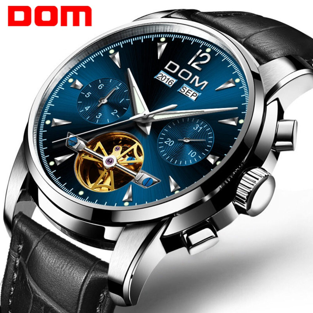 DOM Top Luxury Mens Automatic Mechanical Watches Men Leather Strap Watch Male Fashion Casual Business Clock reloj hombr M-75L-2M цена