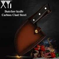 Couteau de cuisine de boucher chinois forgé à la main XYj couteaux de Chef en acier à haute teneur en carbone hachoir à os couteau à poignée pleine Tang et gaine cadeau