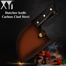 XYj Handgemaakte Gesmeed Chinese Butcher Keukenmes Koolstofstaal Chef Messen Bone Chopper Volledige Tang Handvat Mes & Gift schede