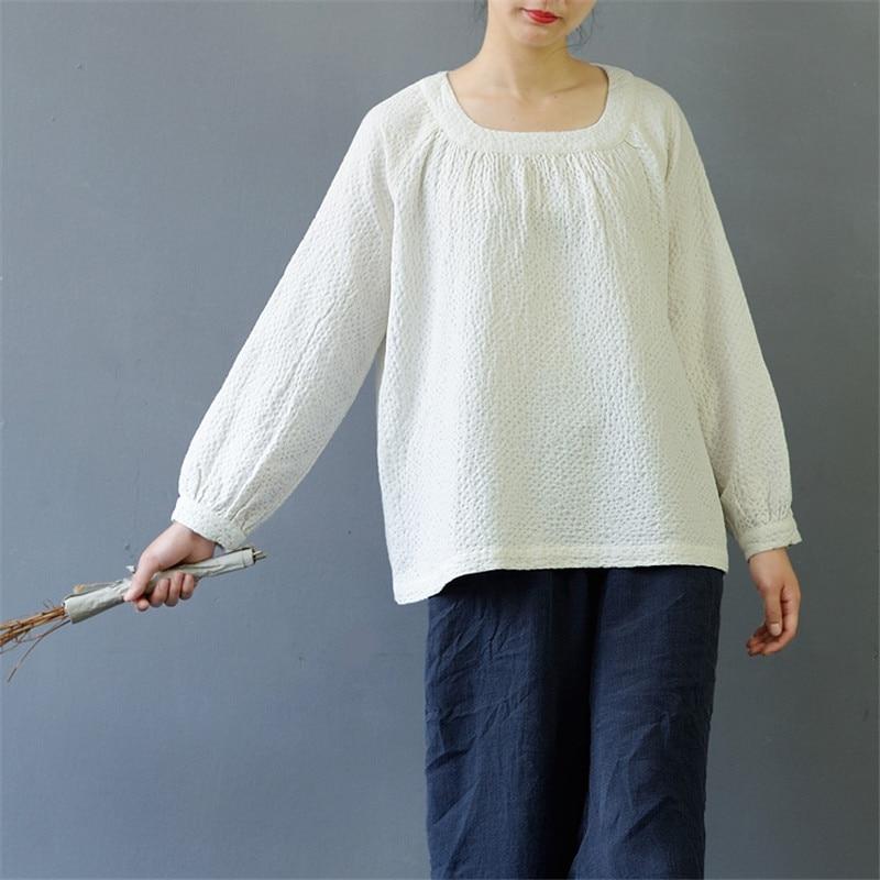 SCUWLINEN 2020 Bahar Sonbahar Kadın Üstleri Rahat Kare Yaka - Bayan Giyimi - Fotoğraf 2