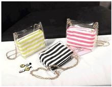 1 set 2 pieces new Clear PVC jelly shoulder bag Transparent handbag with Stripe chain bucket bag mobile phone Messenger bag studded transparent 2 pieces crossbody bag set