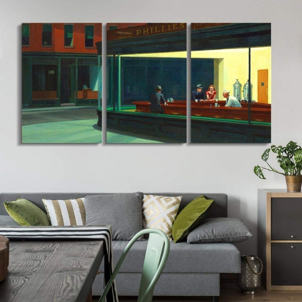 3 Panel Canvas wall art Nighthawks by Edward Hopper Canvas Art Wall Decor Ready to Hang