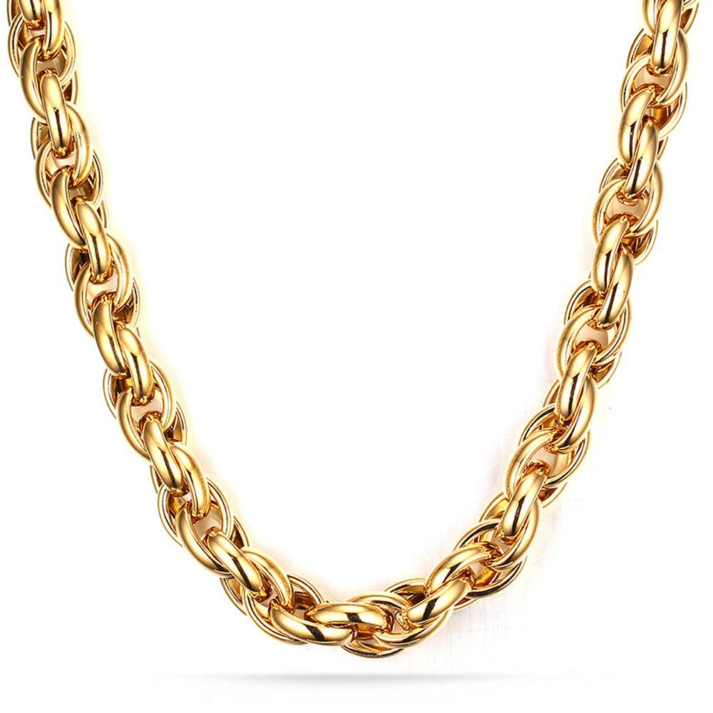 Granny Chic Stainless Steel Gold Color Triple Rope Chain Men Necklace 7-40 Inch Charm Jewelry 7/9/11mm Wholesale Price