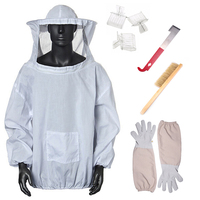 7PCS/SET Beekeeping Suit Tool Set Breathable White Beekeeping Jacket + Bee Brush + Gloves Set Equipment + Queen Catcher